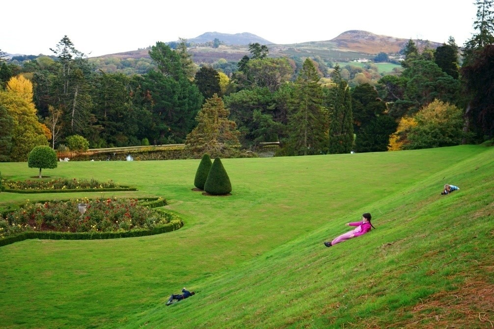 Rolling down bank at Powerscourt