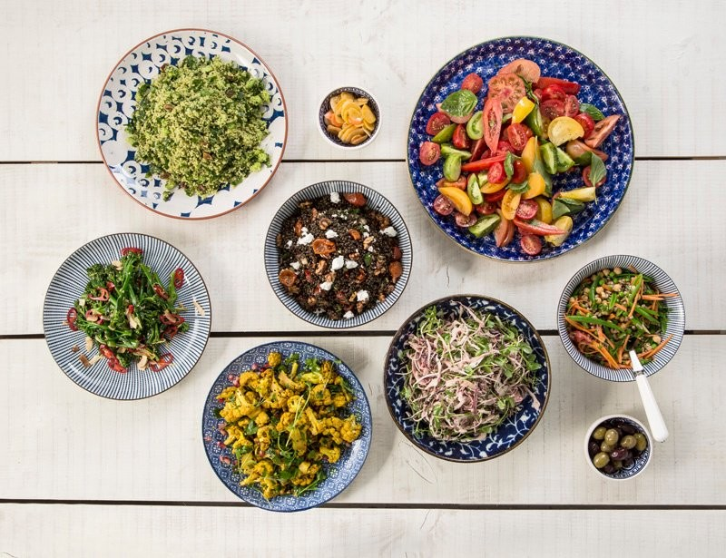 Avoca salads 16.50 per kg - green herb cous cous; puy lentil, feta and rocket; heirloom tomato and basil, tenderstem broccoli, spiced cauliflower, coleslaw