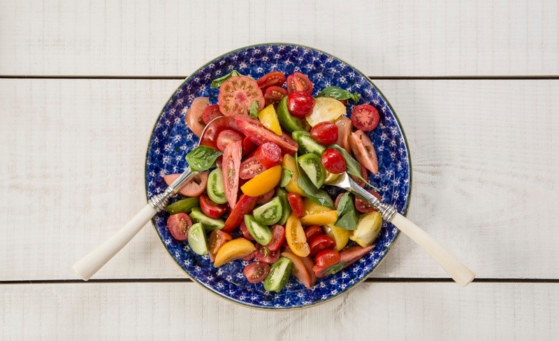 Heirloom tomato and basil salad
