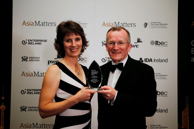 Sarah Slazenger with Niall Gibbons Tourism Ireland Award Asia Matters