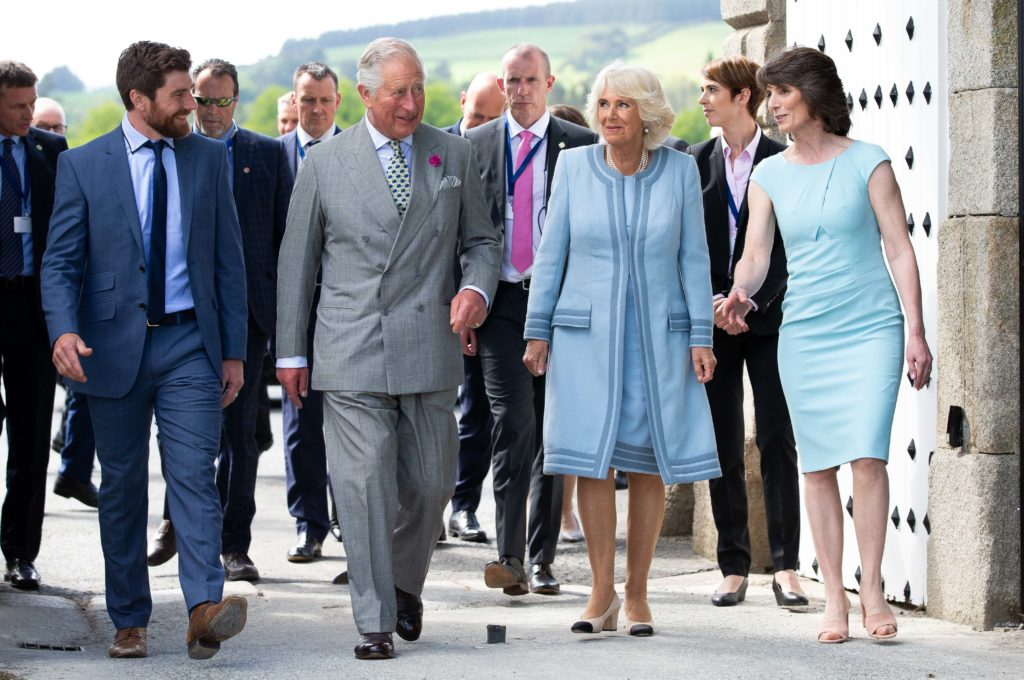 20/05/19. NO FEE. NO REPRO FEE. JULIEN BEHAL PHOTOGRAPHY /ÊIRISH GOVERNMENT POOL PIC.Ê Official visit to Ireland by H.R.H The Prince of Wales & H.R.H The Duchess of Cornwall on 20th May 2019.Ê Picture shows The Prince of Wales and Duchess of Cornwall atÊPowerscourt House ,Co.Wicklow . They were greeted by Ms Sarah Slazenger (Owner Powerscourt House and Gardens ) Mr Alex Slazenger (Head Gardener) More Info Contact Press Office | Department of Foreign Affairs and Trade | Iveagh House, 80 St Stephen's Green, Dublin 2 |( (+353-1) 408 2276 |:Êwww.dfa.ieÊ| @dfatirl JULIEN BEHAL PHOTOGRAPHY. NO FEE.