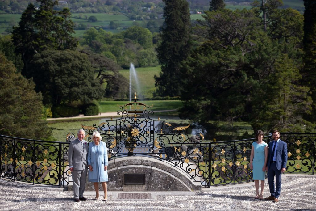 20/05/19. NO FEE. NO REPRO FEE. JULIEN BEHAL PHOTOGRAPHY /ÊIRISH GOVERNMENT POOL PIC.Ê Official visit to Ireland by H.R.H The Prince of Wales & H.R.H The Duchess of Cornwall on 20th May 2019.Ê Picture shows The Prince of Wales at the Powerscourt Gardens atÊPowerscourt House, Co.Wicklow with Ms Sarah Slazenger (Owner Powerscourt House and Gardens ) Mr Alex Slazenger (Head Gardener) More Info Contact Press Office | Department of Foreign Affairs and Trade | Iveagh House, 80 St Stephen's Green, Dublin 2 |( (+353-1) 408 2276 |:Êwww.dfa.ieÊ| @dfatirl JULIEN BEHAL PHOTOGRAPHY. NO FEE.