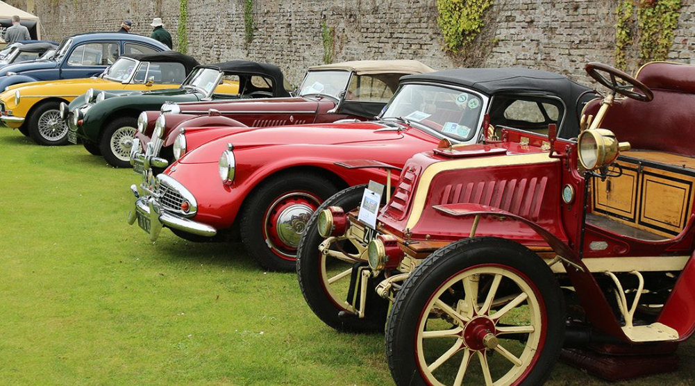 cars - lined up walled garden