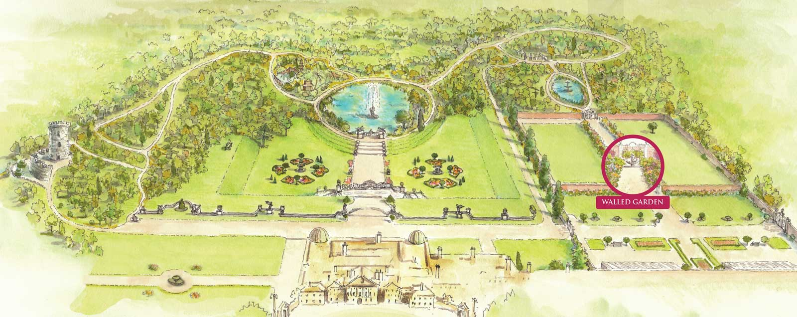 Map Walled Garden Powerscourt Estate
