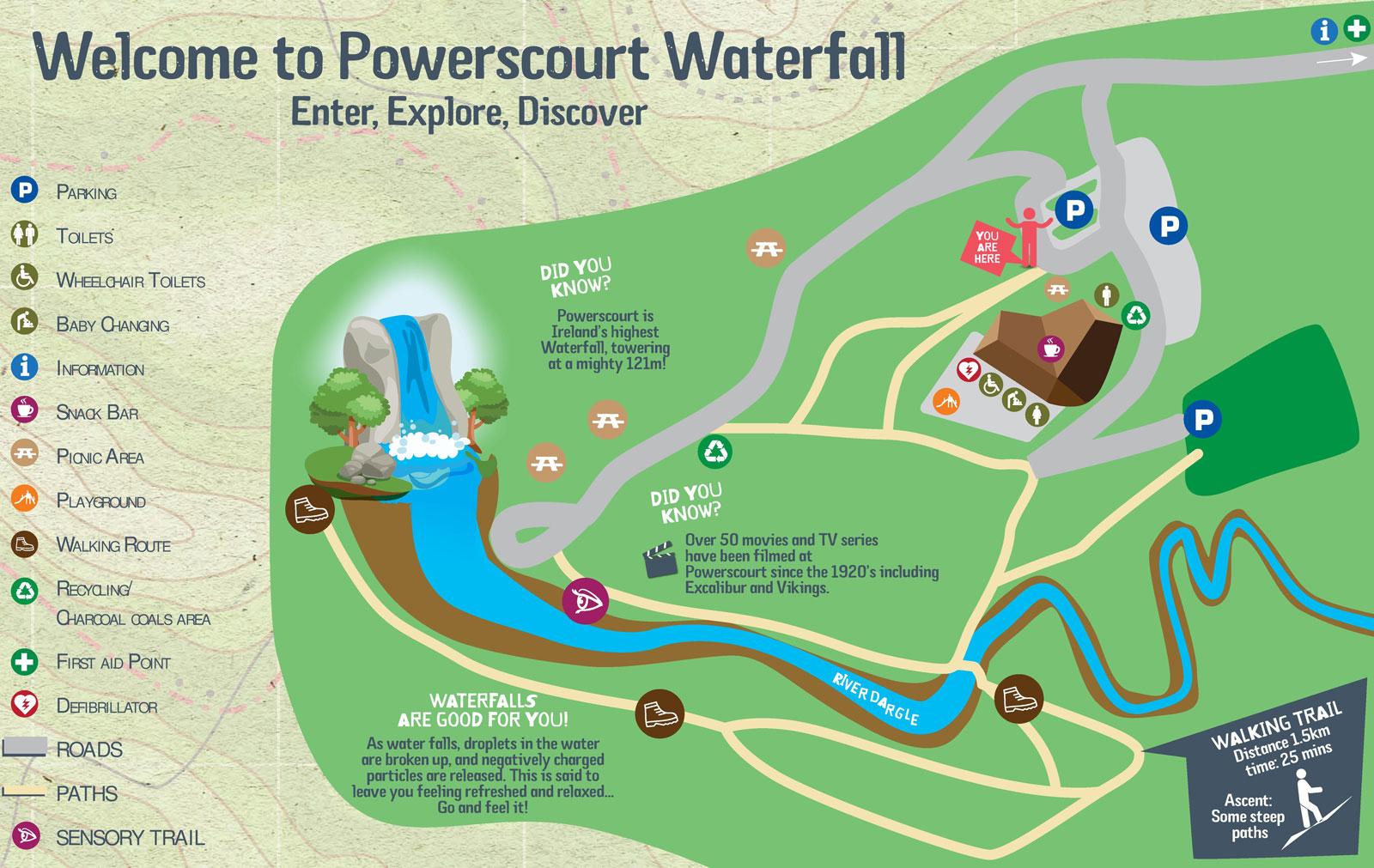 Powerscourt Waterfall Map