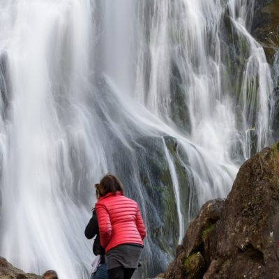 POWERSCOURT WATERFALL, WICKLOW, DUBLIN, IRELAND-APRIL 4, 2015: 121-metre high waterfall on the River Dargle near Enniskerry in County Wicklow, Ireland.