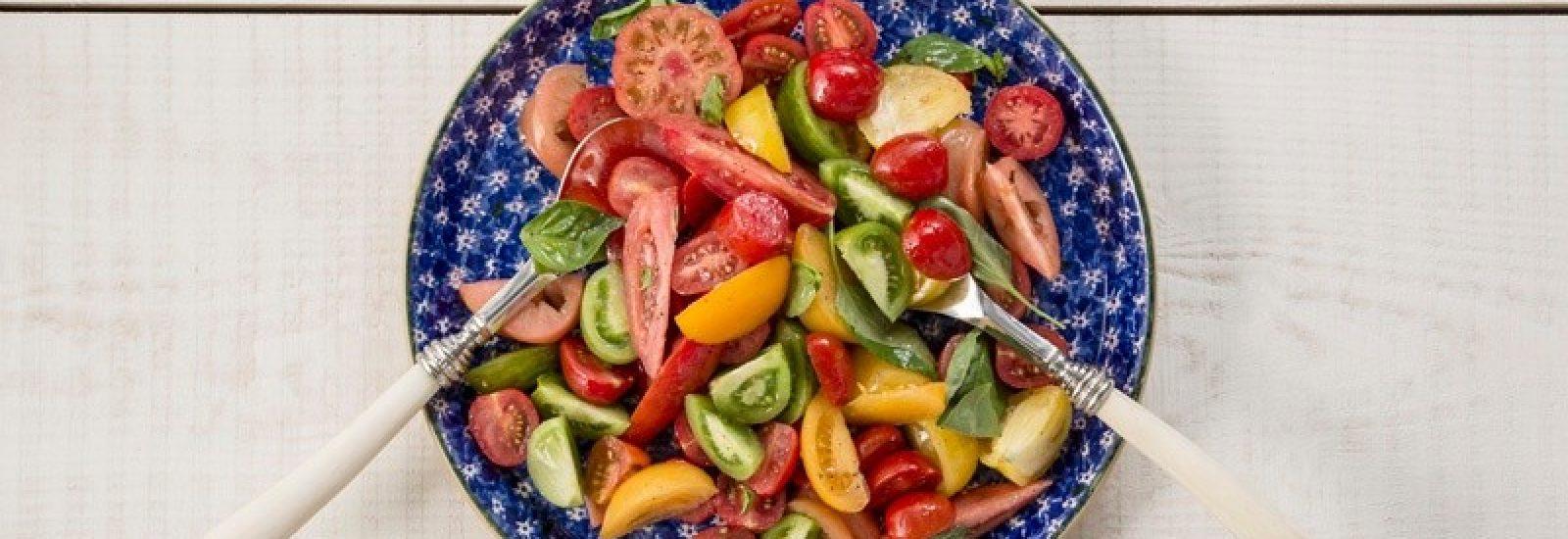Heirloom tomato and basil salad