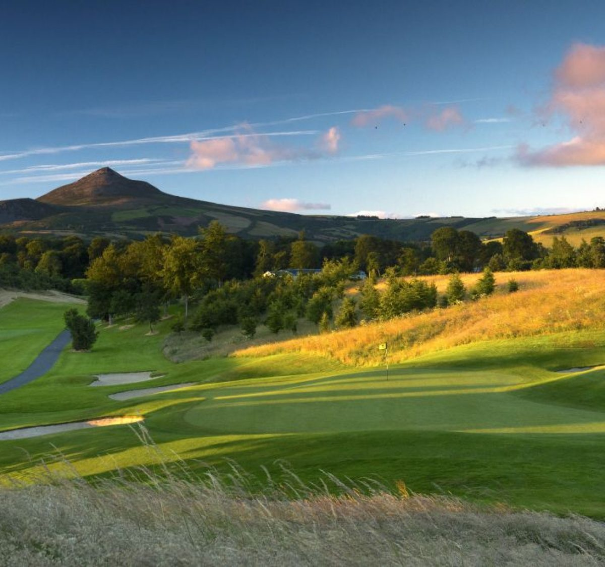 Powerscourt East 14 green to tee sunrise 3214